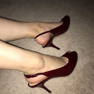 Ann Taylor Sexy Red Slingback Peep Toe Heels